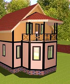Дачный дом с балконом над эркером.